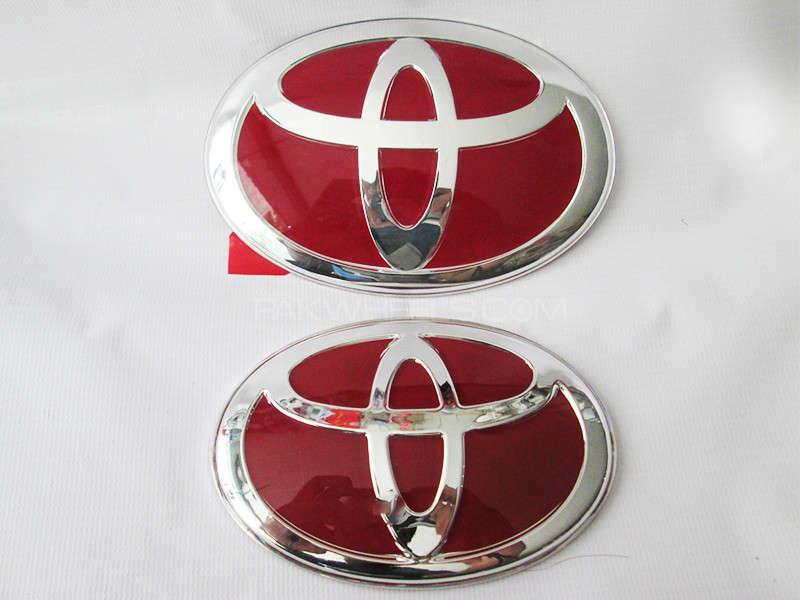 Toyota Front & Back Emblem - Red  Image-1
