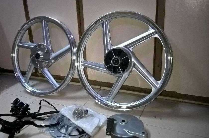 Brand new box pack Disk Break Alloy wheels limited stock remains suzuki gs 150 Image-1