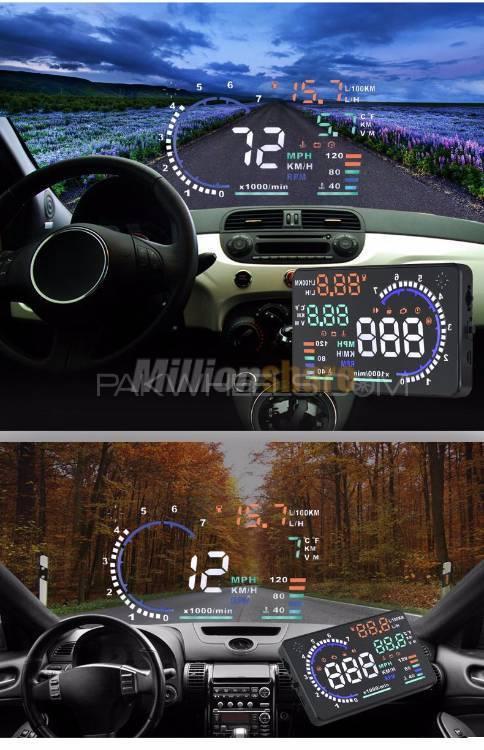 A8 5.5 inch OBD II Car HUD Head Up Display Speed Warning RPM MPH Image-1