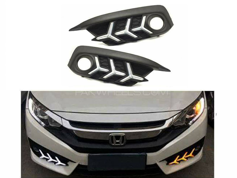 New 2 Way Honda Civic DRL Fog Light Covers - 2016 - 2017 in Lahore