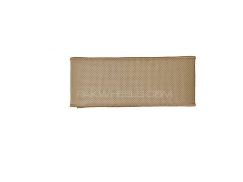 Beige Leather Steering Cover Unstitched Image-1