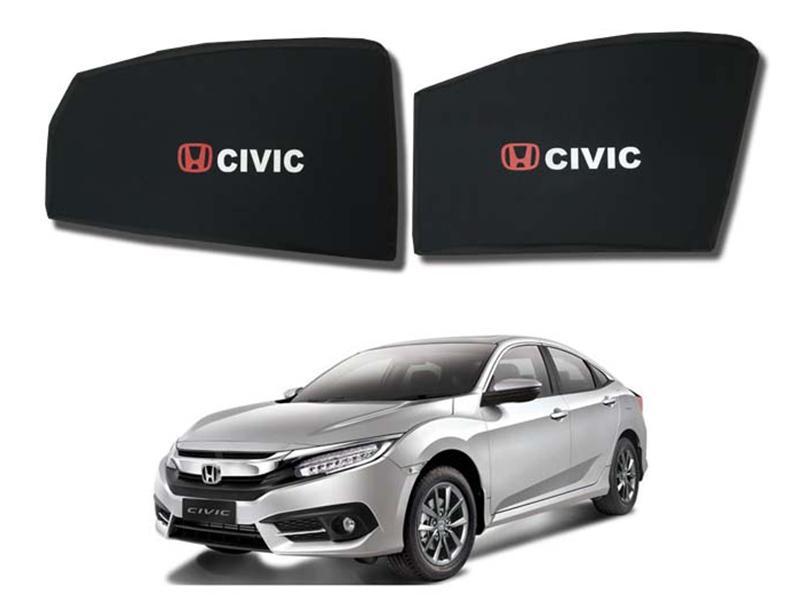 Foldable & Flexible Fix Shades With Logo For Honda Civic 2016-2019 - 4 Pcs Image-1