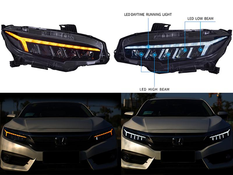 New Venom Style Headlights For Honda Civic 2016-2019