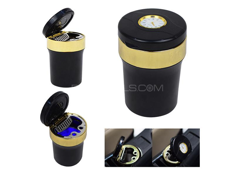 LED Cigarette Ashtray With Clock - Golden Image-1