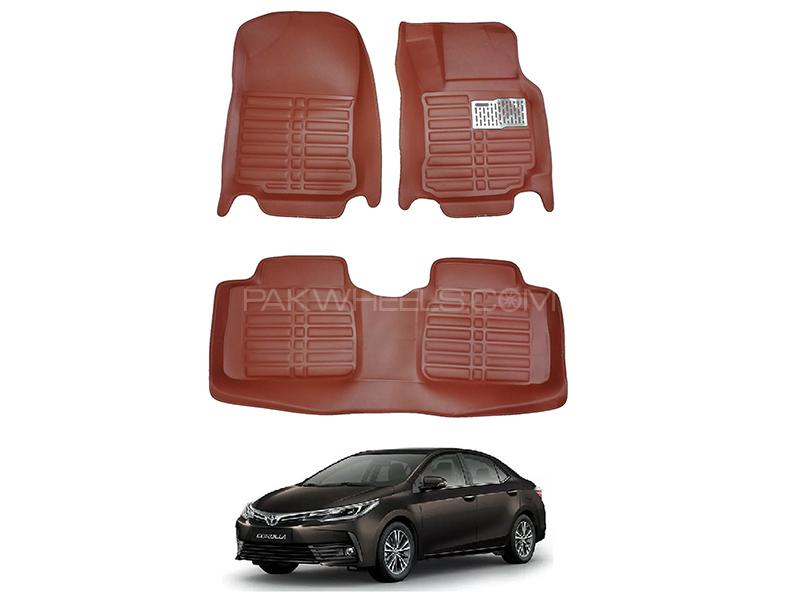 5D Custom Floor Mats Brown For Toyota Corolla 2014-2019 in Karachi