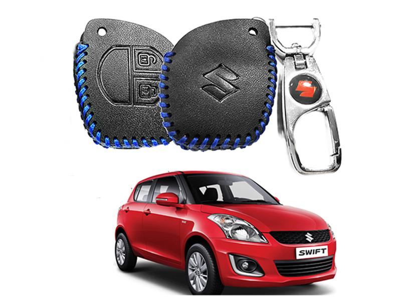 Leather Key Cover With Metal Chrome Keychain For Suzuki Swift - Blue in Karachi