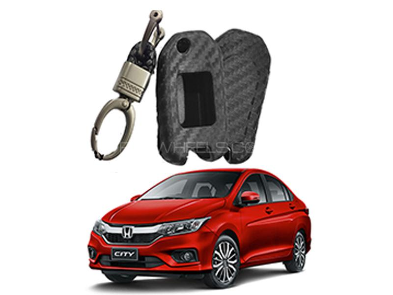Carbon Fiber Style Key Cover With Rob Keychain For Honda City 2009-2019 in Karachi