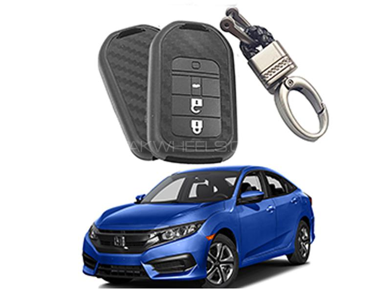 Carbon Fiber Style Key Cover With Rob Keychain For Honda Civic 2016-2019 in Karachi