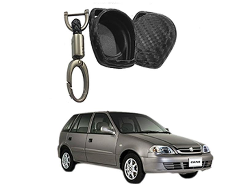 Carbon Fiber Style Key Cover With Rob Keychain For Suzuki Cultus 2007-2016 in Karachi