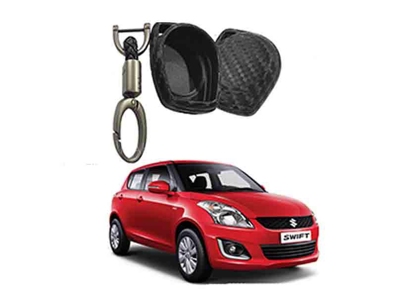 Carbon Fiber Style Key Cover With Rob Keychain For Suzuki Swift in Karachi