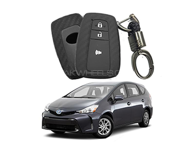 Carbon Fiber Style Key Cover With Rob Keychain For Toyota Prius  Image-1