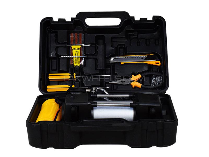 Double Compressor Cylinder With Tire Repair Tool Kit - 12 Volts in Karachi