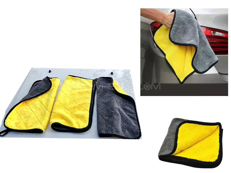 Pack Of 3 Double Sided Yellow Microfiber Towels 40x40 Image-1