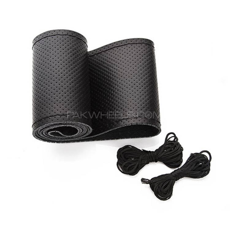Black Genuine PU Leather Breathable Hand Sewing Car Steering wheel Cover with Black Thread Image-1