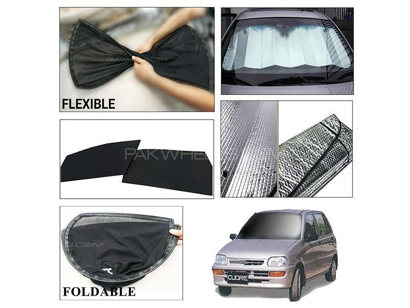Daihatsu Cuore 2000-2012 Foldable Shades And Front Silver Shade - Bundle Pack  in Karachi